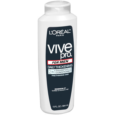 Vive Pro for Men Fine/Thinning Hair Daily Thickening 2 in 1 Shampoo & Conditioner 13 fl. oz. Plastic Bottle