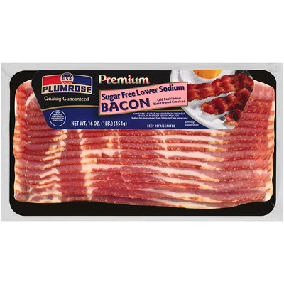 Plumrose® Premium Hardwood Smoked Sugar Free Lower Sodium Bacon 16 oz. Package