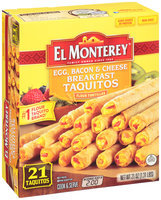 El Monterey® Egg, Bacon & Cheese Breakfast Taquitos 21 ct Box