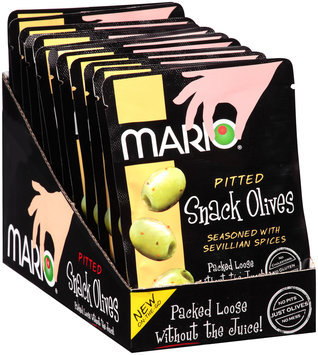 Mario® Pitted Green Snack Olives Seasoned with Sevillian Spices 1.05 oz. Pouch