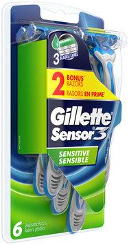 Gillette Sensor3 Sensitive Men's Disposable Razors 4 count + 2 Bonus Gillette Sensor3 Sensitive Men's Disposable Razors , 6 count