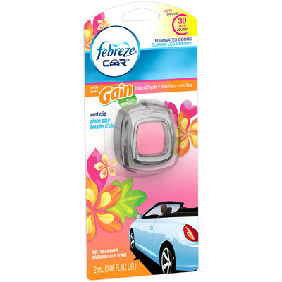 Febreze CAR Vent Clip with Gain Island Fresh Scent Air Freshener (1 Count, 0.06 oz)