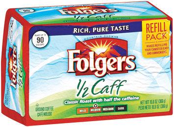 Folgers 1/2 Caff Medium Refill Pack Ground Coffee 10.8 Oz Brick