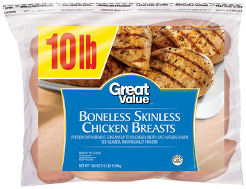 Great Value™ Boneless Skinless Chicken Breasts 160 oz. Bag