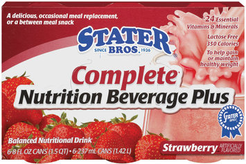 Stater Bros. Strawberry 8 Oz Complete Nutrition Beverage Plus 6 Pk