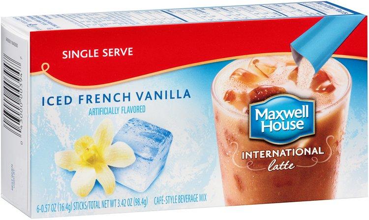Maxwell House International Iced French Vanilla Latte Cafe-Style Beverage Mix 6-0.57 oz. Single Serve Sticks