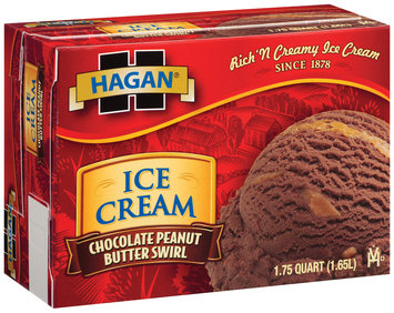 Hagan Chocolate Peanut Butter Swirl Ice Cream 1.75 Qt Box