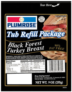 Plumrose Black Forest Premium Package 98% Fat Free Tub Turkey Blk For Refill 9 Oz Peg