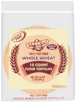 Best Buy Whole Wheat 96% Fat Free 10 Ct Tortillas Flour 16 Oz Poly Bag