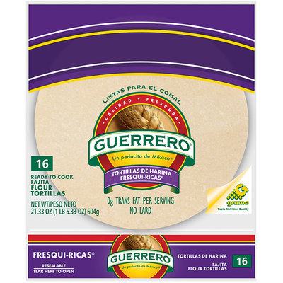Guerrero® Fresqui-Ricas® Flour Fajita Ready to Cook Tortillas 16 ct 21.33 oz.