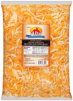 Alto® Feather Shredded Cheddar Yellow & Monterey Jack Blend Cheese 5 Lb Bag