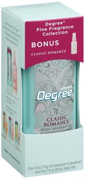 Degree Anti-Perspirant & Deodorant Fine Fragrance Collection Classic Romance & Bonus Body Mist Degree Women 2.6 Oz Box