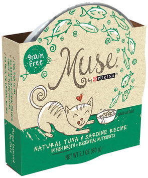 Muse by Purina Natural Tuna & Sardine Recipe in Fish Broth Cat Food 2.1 oz. Tub