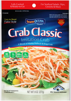 TransOcean® Products Crab Classic Flake Style Imitation Crab 8 oz. Bag