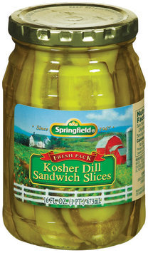 Springfield Kosher Dill Sandwich Slices Pickles 16 Fl Oz Jar