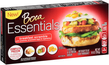 Boca Essentials Breakfast Scramble Veggie, Egg & Soy Protein Burgers 4 ct Box