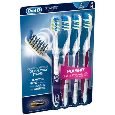 3D White Oral-B 3D White Luxe Pulsar 35 Soft Manual Toothbrush 4 Count