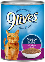 9Lives Meaty Pate With Real Beef Wet Cat Food, 13-Ounce Cans (Pack of 24)