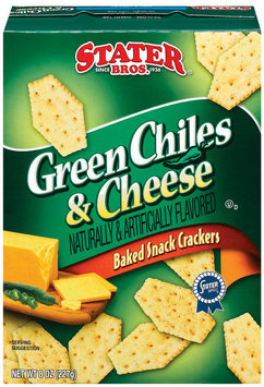 Stater Bros. Green Chiles & Cheese Baked Snack Crackers 8 Oz Box