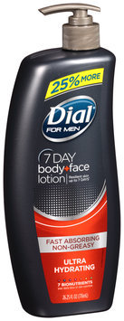 Dial® for Men 7 Day Ultra Hydrating Body + Face Lotion 26.25 fl. oz. Pump