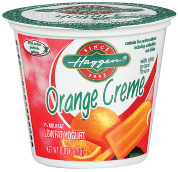 Haggen 1% Milkfat Orange Creme W/Other Natural Flavors Lowfat Yogurt 6 Oz Cup