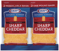 Kraft Natural Cheese Cheddar Sharp Finely Shredded 16 Oz Shredded Cheese 2 Ct Pack