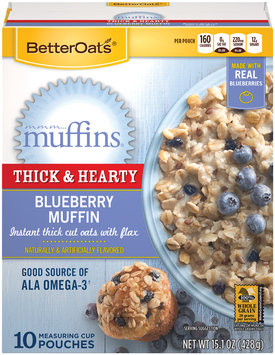 BetterOats® mmm...Muffins® Thick & Hearty Blueberry Muffin Instant Oatmeal 10 ct Pouches