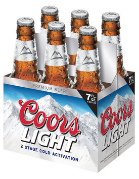 COORS LIGHT Longneck 7 Oz Beer 6 PK GLASS BOTTLES