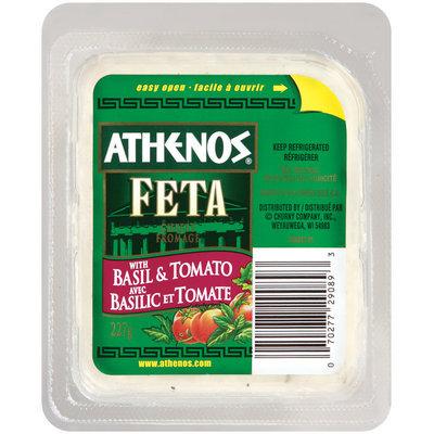 Athenos Feta Chunk W/Basil & Tomato Cheese 227 G Tray