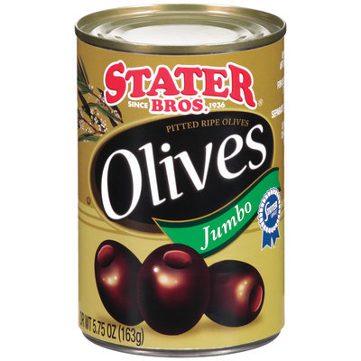 Stater Bros. Jumbo Pitted Ripe Olives 5.75 Oz Can