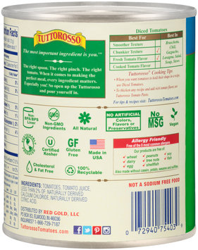 Tuttorosso® All Natural No Salt Added Italian Style Diced Tomatoes in Rich Tomato Sauce 28 oz. Can