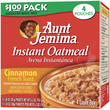Aunt Jemima Cinnamon French Toast Dollar Pack Instant Oatmeal 4 Ct Box