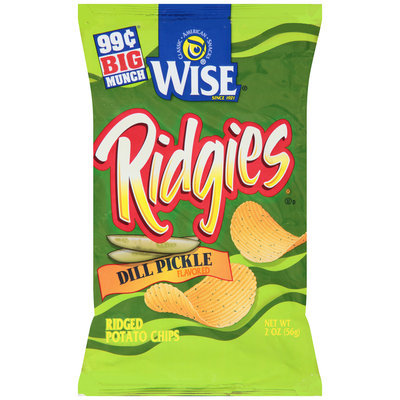 Wise® Ridgies® Dill Pickle Flavored Ridged Potato Chips 2 oz. Bag