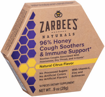 Zarbee's® Naturals 96% Honey Flavor Cough Soothers & Immune Support Dietary Supplement 14 ct Box