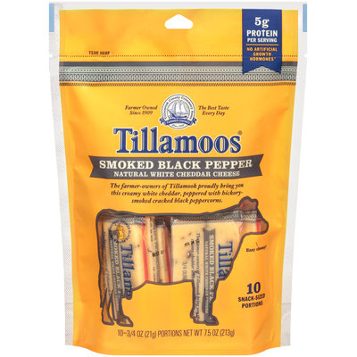 Tillamoos® Snack-Sized Smoked Black Pepper White Cheddar Cheese 10 ct Bag