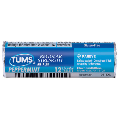 Tums Regular Strength Peppermint Tablets  Antacid Calcium Supplement 12 Ct Pack