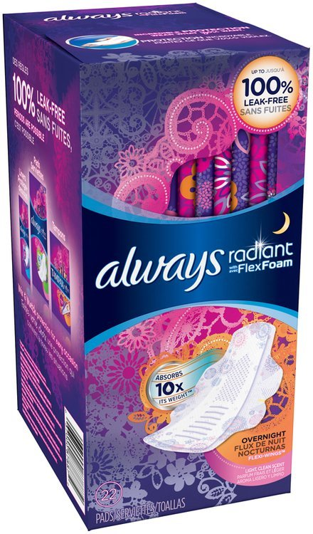 Radiant Always Radiant Overnight with wings scented Pads 22 count