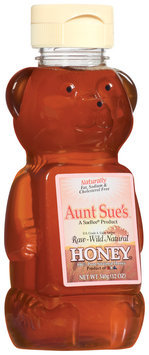 Aunt Sue's Raw Wild Natural Honey 12 Oz Bear