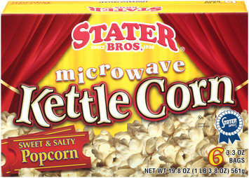 Stater Bros. Microwave Sweet & Salty Popcorn 3.3 Oz Bags Kettle Corn 6 Ct Box