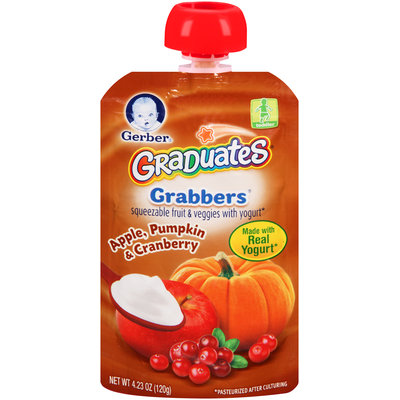 Gerber® Graduates® Grabbers® Apple, Pumpkin & Cranberry Squeezable Fruit & Veggies with Yogurt 4.23 oz. Pouch