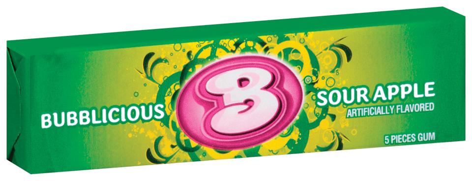 Bubblicious 5 Piece Packs Sour Apple Bubble Gum 5 Ct