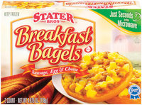 Stater Bros. Breakfast Sausage, Egg & Cheese 2 Ct Bagels 4.875 Oz Box