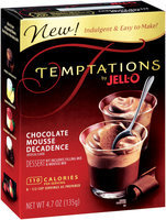 Jell-O Chocolate Mousse Decadence Temptations Dessert Kit 4.7 Oz Box
