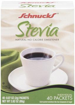 SCHNUCKS Stevia 0.07 Oz Packets 40 Ct No Calorie Sweetener 2.82 OZ BOX