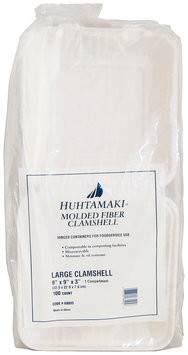 Huhtamaki® Molded Fiber Clamshell Storage Containers 100 ct Pack