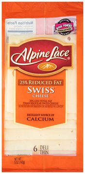 Alpine Lace® 25% Reduced Fat Deli Thin Swiss Cheese 5 oz. Pack