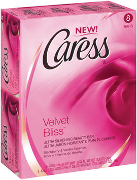 Caress Velvet Bliss Ultra Silkening W/Blackberry & Vanilla Essence Beauty Bars 8 Pk Box