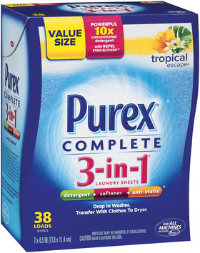 Purex Complete 3-In-1 Laundry Sheets Complete 3-In-1 Tropical Escape Value Size Laundry Sheets 38 Ct Box