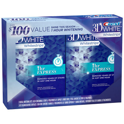 3D White Whitestrips 1 Hour Express Twin Value Pack Teeth Whitening Kit 4 ct Box