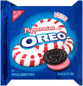 Nabisco Oreo Sandwich Cookies Peppermint Creme Chocolate